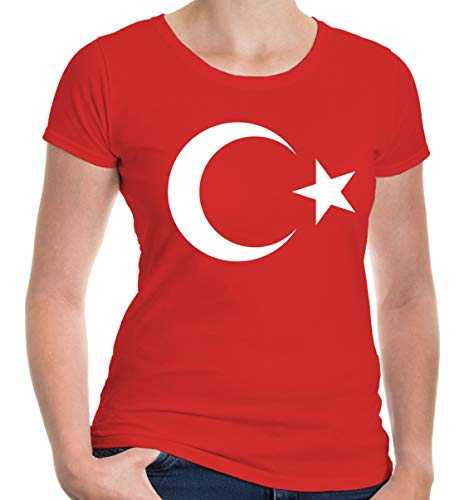 e Kurzarm T-Shirt Bedruckt Turkey Flag Full Size | Türkei Flagge Ländershirt | S Red-White Rot ()