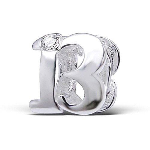 Silvadore - Silver Bead - ''13'' Thirteen Number Figure Numerals Birthday Crystal Cz - 925 Sterling Charm 3D Slide On 409 - Fits Pandora European Bracelet - Free Gift Boxed