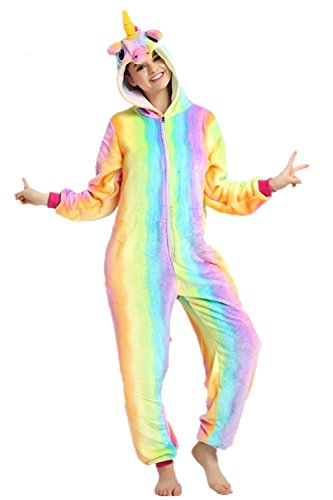 Mystery&Melody Disfraz de Unicornio Adulto arcoíris para Mujer Chicas Pijama de Navidad Animal Navidad (Rainbow-Zipper, S)