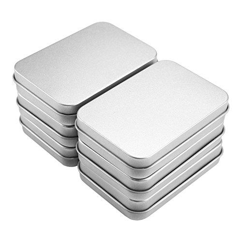 Pawaca vide Tin Box Container Lot de 6, réutilisable rectangulaire en métal Mini Portable Boîte de rangement avec couvercle pour accessoires, bijoux, bonbons, maison, organiseur, 8,8 x 6 x 1,8 cm