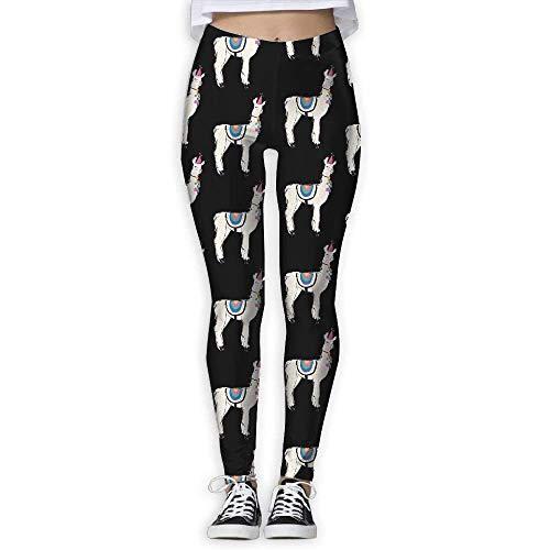 Wnocdmv Funny Cute Llama Alpaca Juniors Exercise Stretch Footless High Waist Leggings Pants White