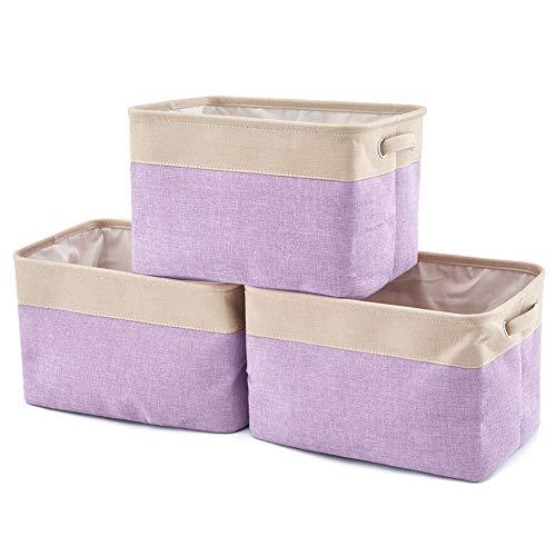 EZOWare Faltbare Aufbewahrungsbox aus Leinen Aufbewahrungskorb mit Griffen - 3er Set (Creme/Lila)