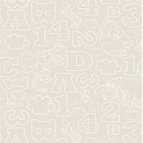 Disney  - Graham & Brown Wallpaper for Kids Room Design números, letras y personajes de Winnie the Pooh 10 m PIEDRA DF70699