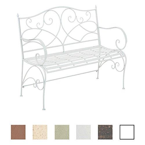 CLP Gartenbank FILIZ im Landhausstil, Eisen lackiert, ca. 105 x 55 cm - 2er Sitzbank Weiß