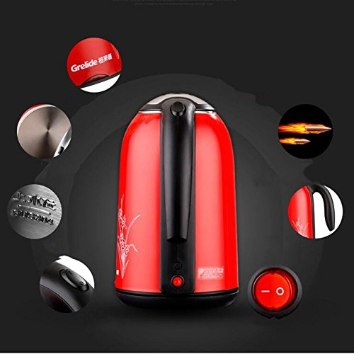 BCQ Electric Kettle 304 Stainless Steel Spring Cover 1.7L 1800W Red 16 * 27Cm Electric Kettles