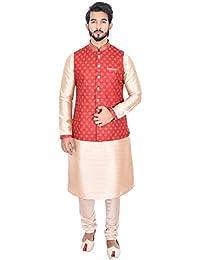 Manyavar Men's Beige Full Sleeve Regular Fit Textured Kurta Paired with Churidar & Designer Nehru Jacket