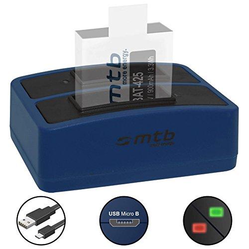 Dual-Ladegerät (USB) für Rollei Actioncam 425, 426 (4K 2160p) - inkl. Micro-USB-Kabel (2 Akkus gleichzeitig ladbar)