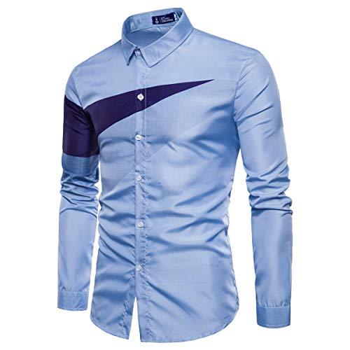 Xmiral Hemd Shirts Herren Lange Ärmel Knopf Geschäft Arbeit Umlegekragen Tops Geometrie Drucken Hemden Slim Fit Herbst Poloshirt Sweatshirt(Himmelblau,M) -