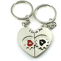 """Herz mit Zahnrad """" I Love You """" Schlüsselanhänger Schlüsselring für Paare / Geliebte im Set Zahnräder"""