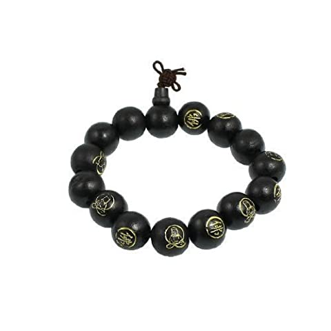sourcingmap Black Wood Beads Chinese Character Words Buddha Carved Bracelet 9.8