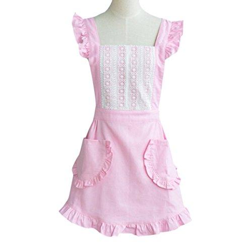 essin Lovely Spitze Trim 100% Baumwolle Schürze mit zwei seitlichen Taschen Cross Back Style Tolles Geschenk für Frau Mädchen (Cute Mutter Und Tochter Kostüme)