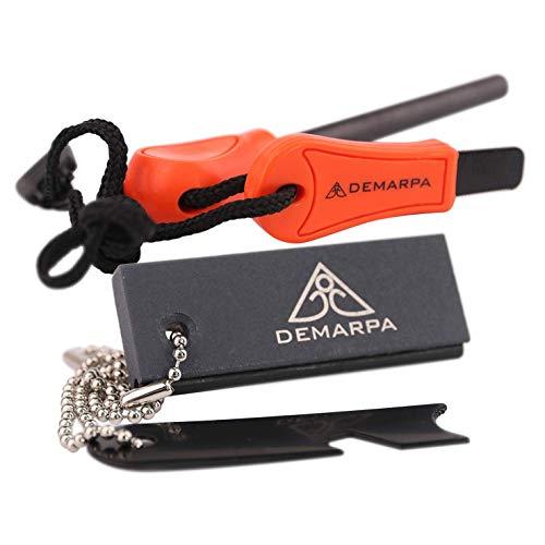 DEMARPA 2er-Set Feuerstarter für Outdoor & Survival: Magnesiumblock mit Feuerstein und klassischem, langem Feuerstahl FS PRO XL