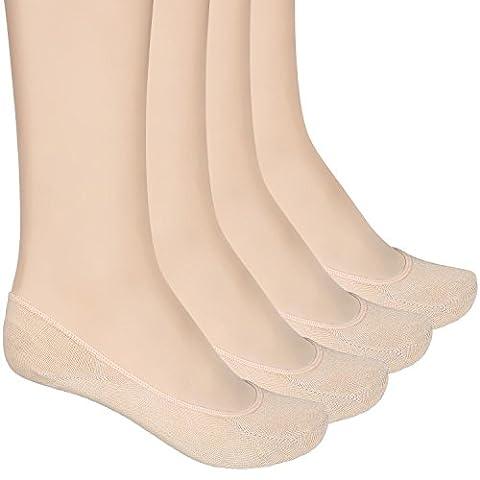 Füßlinge Baumwolle Ballerina Socken für Damen 4 Paar ein Pack mehre Farbe (hautfarbe)