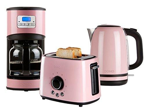 Edelstahl Frühstücksset im Retro Design in pastell rosa Kaffeemaschine Toaster und Wassekocher