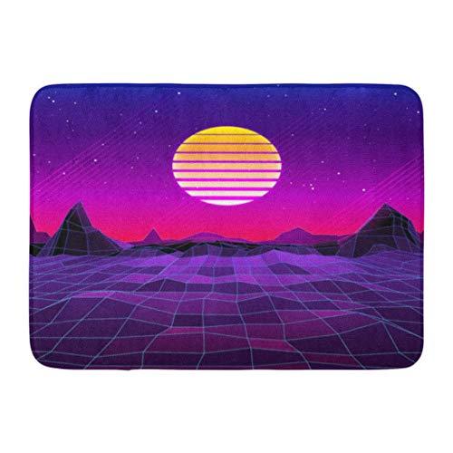 Fußmatten Badteppiche Outdoor / Indoor Fußmatte Pink Neon 80S Retro Sci Fi Sonne und Berge Futuristische Synth Wave in den 1980er Jahren Geeignet für alle lila Spiel Badezimmer Dekor Teppich Badematte
