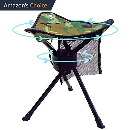 GEERTOP Trípode Plegable Silla Giratoria Completa Rotación de 360 Grados Heavy Duty Taburete para Acampar Pesca Senderismo Caza al Aire Libre