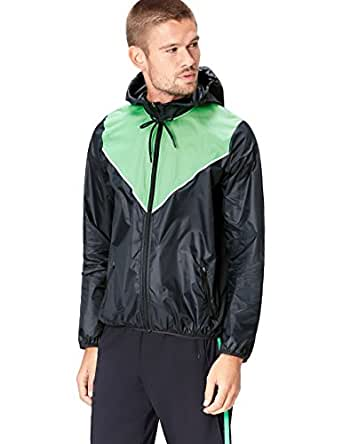 Activewear Giacca a Vento con Cappuccio Uomo, Schwarz (Black/Apple Green), Small