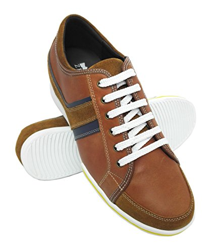 ZERIMAR Zapatos Deportivos con Alzas Interiores para Hombres Aumento 6 cm | Zapatos de Hombre con Alzas Que Aumentan Su Altura | Zapatos Hombre Casuales | Color Marron Talla 40