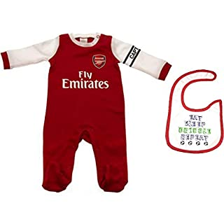 Official Arsenal F.C. Babygrow and Bib 2018/19 Kit Style (6-9 Months)