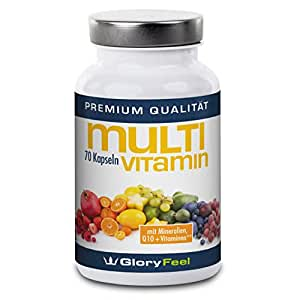 Multivitamin capsules, multivitamins A-Z + multimineral complex + Q10 - 70 vegan capsules multivitamin high doses with 25 vitamins and minerals - Premium quality German manufacturing