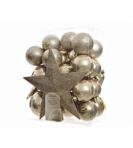 33er Set Kugelmix PVC mit Sternspitze (Perle - Champagner Glanz/Matt) Weihnachtskugeln Baumschmuck bruchfest Christbaumschmuck Deko