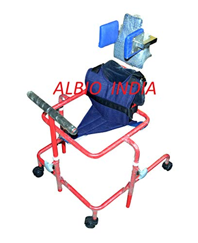 Albio CP Walker Child Large - Height Adjustable Cerebral Palsy Walker with Head Rest & Body Supporting Chest Belt.