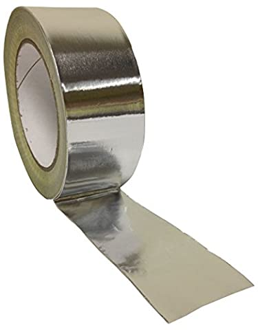 No1 Packaging 190288 1 Roll 48mm x 45m Aluminum Foil Insulation Bright Silver Tape Duct