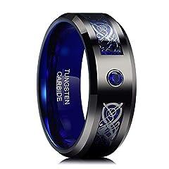 Idea Regalo - Naturwunder - Anello da Uomo/Donna in tungsteno con zirconi Blu, Misura 54-72 (17,3 mm - 23,0 mm) e tungsteno, 65 (20.7), Colore: Schwarz + Blau, cod. NF-W020R-11