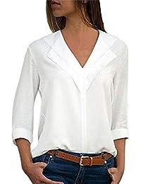 Chemise Femme Chemisier Mousseline de Soie T-Shirt Solide Tunique Femme  Chic Manches Longues Tops 91d5b85397c4