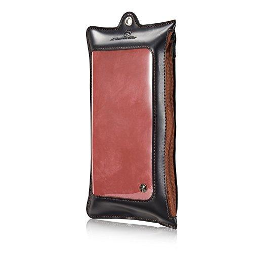 CaseMe Brand® Hülle für Samsung S7, multifunktionale Brieftasche, mit abnehmbarem Teil, echtes Leder, magnetische Knöpfe, Reißverschluss Red-1