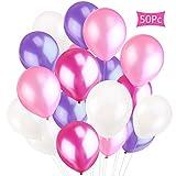 CXvwons Luftballons, 2,2 g Luftballons Hochzeit Ballon Partyballon Latexballons Glanz Bunte Ballons Spielzeug für Kindergeburtstag Hochzeits Geburtstagsfeier Hochzeit Party 50 Stück rosa