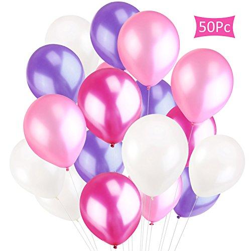 (CXvwons Luftballons, 2,2 g Luftballons Hochzeit Ballon Partyballon Latexballons Glanz Bunte Ballons Spielzeug für Kindergeburtstag Hochzeits Geburtstagsfeier Hochzeit Party 50 Stück rosa)