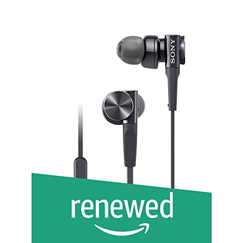 (Renewed) Sony MDR-XB75AP in-Ear Extra Bass Headphones with Mic (Black)