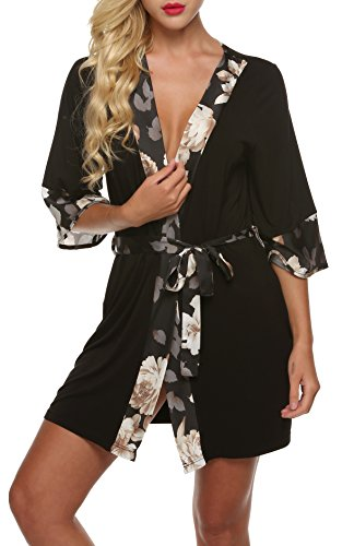 Ekouaer Damen Morgenmantel Kimono Robe Bademantel Negligee Kurze Nachtwäsche Saunamantel Nightwear Druck mit Taschen Schwarz XL