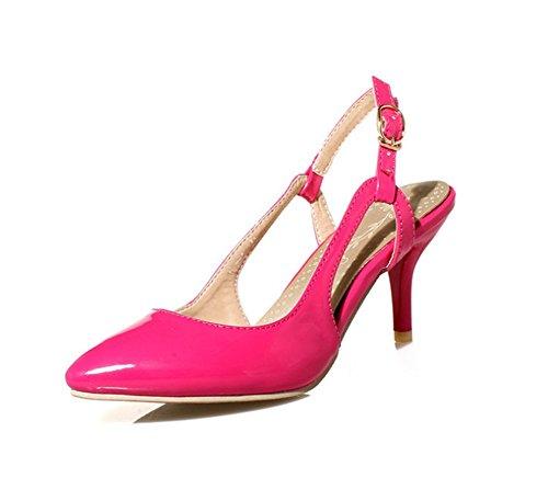 Wealsex Sandales à talons Escarpins Vernis Bride arrière Femme Bride Cheville Boucle Bout Pointu Talons Moyen Confortable rose rouge