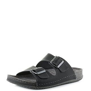 INBLU Mens TH-05 Black Leather Comfort Sandals Twin Strap Sandals Size 9.5