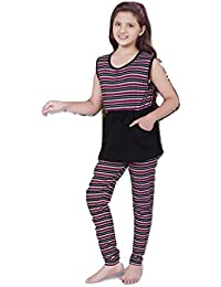 Summer Night Suit for Kids / Girls - Night wear - Track Suits - Pyjama Tshirt Night Wear Combo Set  -Sinker Material  - Half Sleeve - Purple Color - Branded Valentine Kids Wear -For 6/8/10/12/14/16 Year Girls - Track Pant and T-shirt