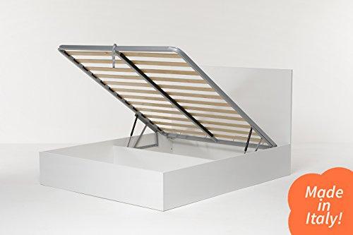 Cangù, Hi Box Letto Contenitore, Bianco, 160 x 190 cm