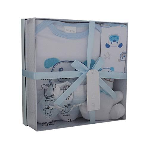 Neugeborenes Baby-Geschenk-Set mit Bodysuit, Lätzchen, Spielzeug, Socken in einer Geschenkbox. 0 - 3 Monate.