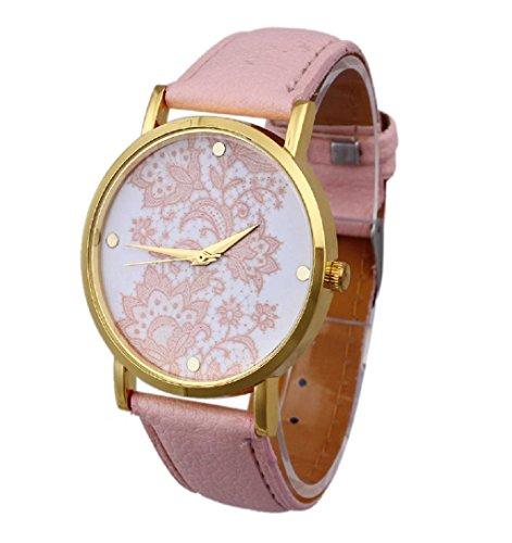 Sannysis® Mujeres Encaje Cuero impreso análogo de cuarzo visten el reloj Rosa