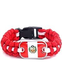 c89fd37805cd FJTHY Equipo Nacional de Fútbol de Perú Bandera Paraguas Cuerda Pulsera  Regalo Pulsera ...