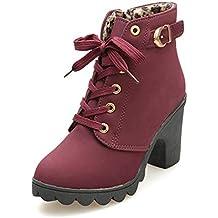 Botines De Altos Tacón Mujer,Piel con Plataforma Ante Forrados Cordones 8 Cm Zapatos Moda