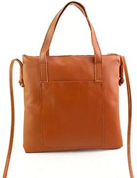 Frauen Handtasche, brezeh Fashion PU Leder Schultertasche große Tragetasche Damen Geldbörse Einheitsgröße braun