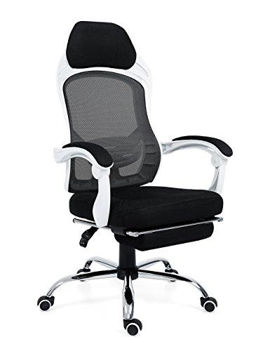 Wahson Schreibtischstuhl im Ergonomischen Design,Hoch Rücken Bürostuhl Bürodrehstuhl mit Fußstütze und Kopfstütze,Chefsessel, 60 Grad Neigung der Lehne,Maximalgewicht 150kg (Schwarz)