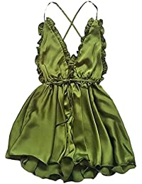 1539b32e0697 HaiDean Donna Tute Monopezzi Eleganti da Cerimonia Estivi Corti Vestiti da  Sera Tutine Jumpsuit Semplice Glamorous