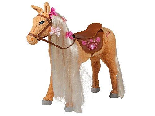 """Mattel Barbie-Pferd \""""Tawny\"""", mit Sound, beige mit heller Mähne inkl. Putzbox befüllt für Kinder, lila und extra 2 in 1 Pferdedecke"""