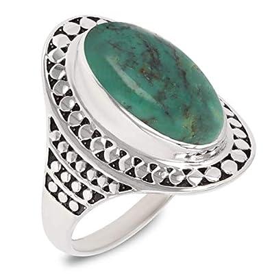 Idée cadeau Maman-Bague- Pierre de turquoise-Argent massif-Femme-bleu-vert
