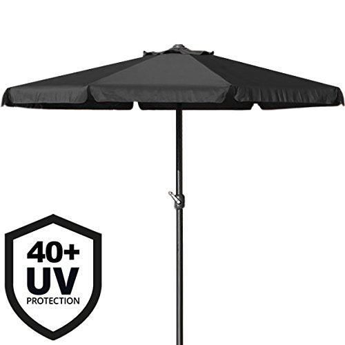 Deuba Sonnenschirm I 330cm I Aluminium I mit UV-Schutz 40+ I wasserabweisend I schwarz - Kurbelschirm Ampelschirm Marktschirm Gartenschirm Terrassenschirm
