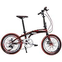 Richbit® RT-020 Unisex Mini Pieghevole Bici Alluminio telaio BMX Bicicletta 14'' Ruota Shimano 7S City Sportiva da Donna Shopper Bici da Città Dual Freni a disco Meccanici Rosso/Giallo/Arancione, Rosso, 20