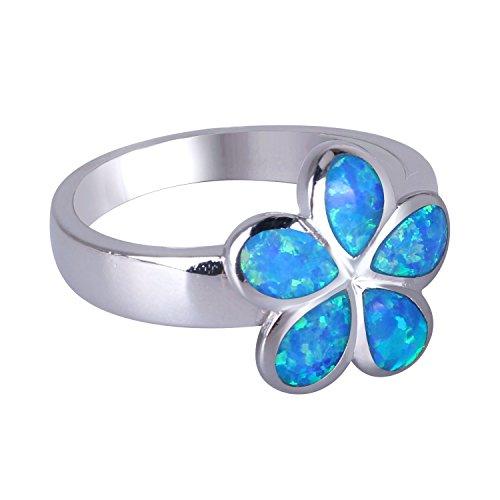 KELITCH Joyería Azul Flor Creado Ópalo Anillo Plata